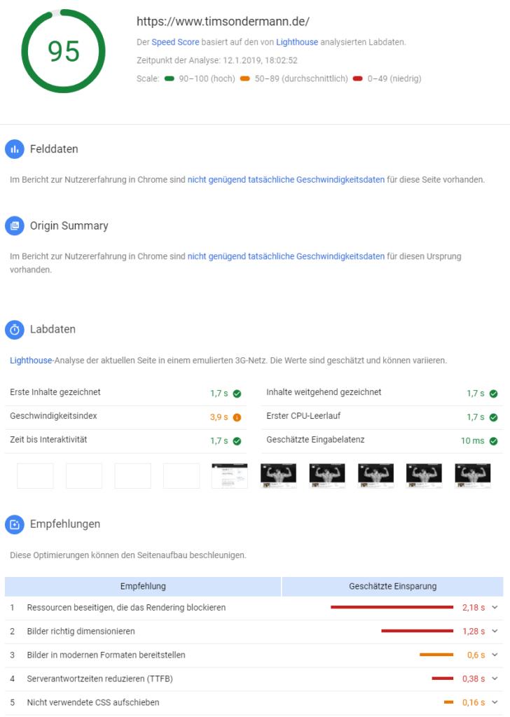Google Lighthouse Speedtest: Ergebnis für Desktops ohne Cache