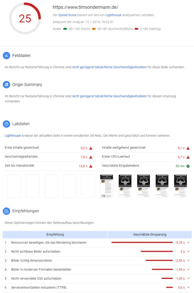 Google Lighthouse Speedtest: Ergebnis für Mobilgeräte ohne Cache