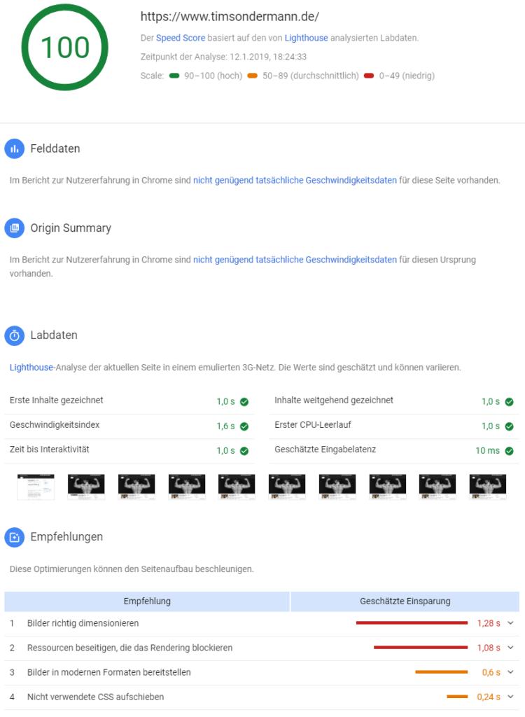 Google Lighthouse Speedtest: Ergebnis für Desktops mit aktivem WP-Fastest-Cache
