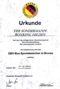 Urkunde Box-Sportabzeichen in Bronze