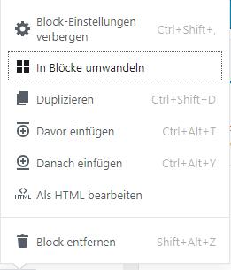 Classic-Editor in Blöcke umwandeln